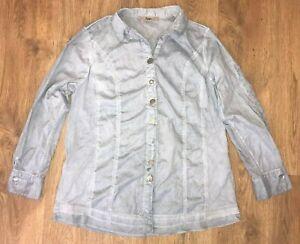 Bottega-rare-ladies-womens-washed-blue-tunic-shirt-blouse-top-size-III-M