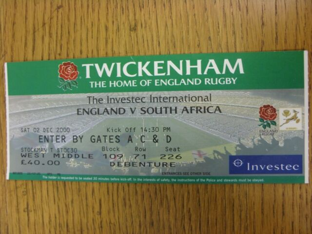02/12/2000 Rugby Union Ticket: England v South Africa [At Twickenham] (folded)