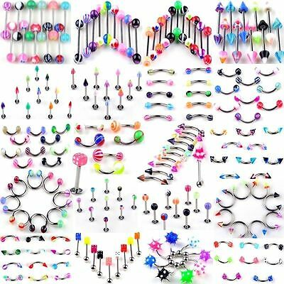 Mixed Style 105PCS Body Piercing Jewelry Eyebrow Navel Belly Tongue Lip Bar Ring