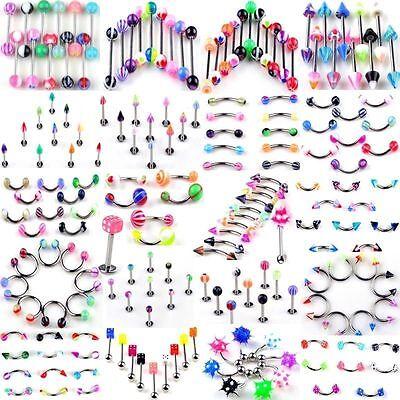 Mixed Style 105PCS Body Piercing Jewelry Eyebrow Navel Belly Tongue Lip Bar Ring