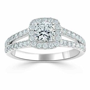 1.70 Ct Cushion Moissanite Anniversary Ring Solid 18K White Gold ring Size 8 9