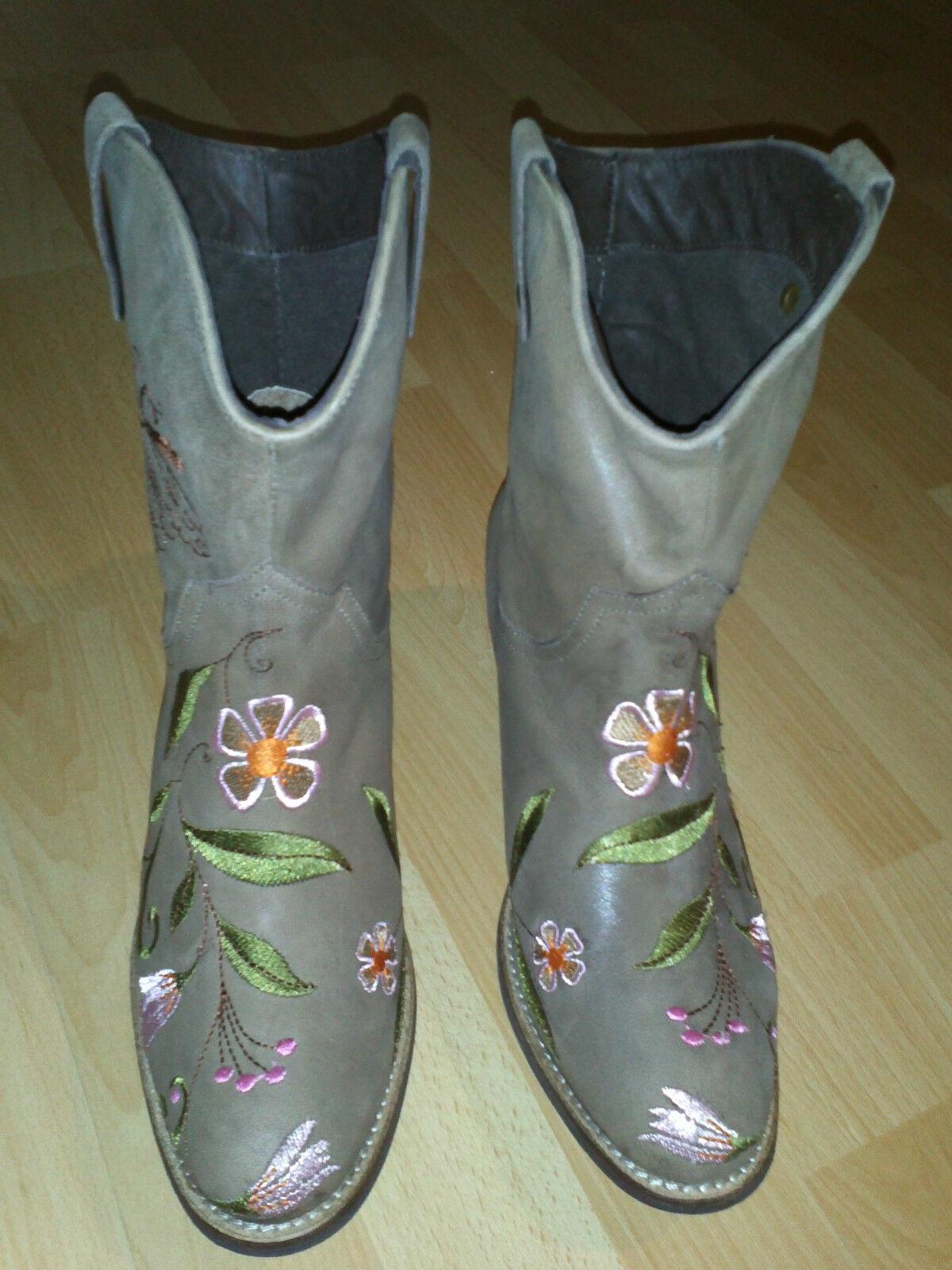 Cream Damen Leder Cowboy Westernstiefel im Hippie-Style mit Stickerei 39-40 NEU