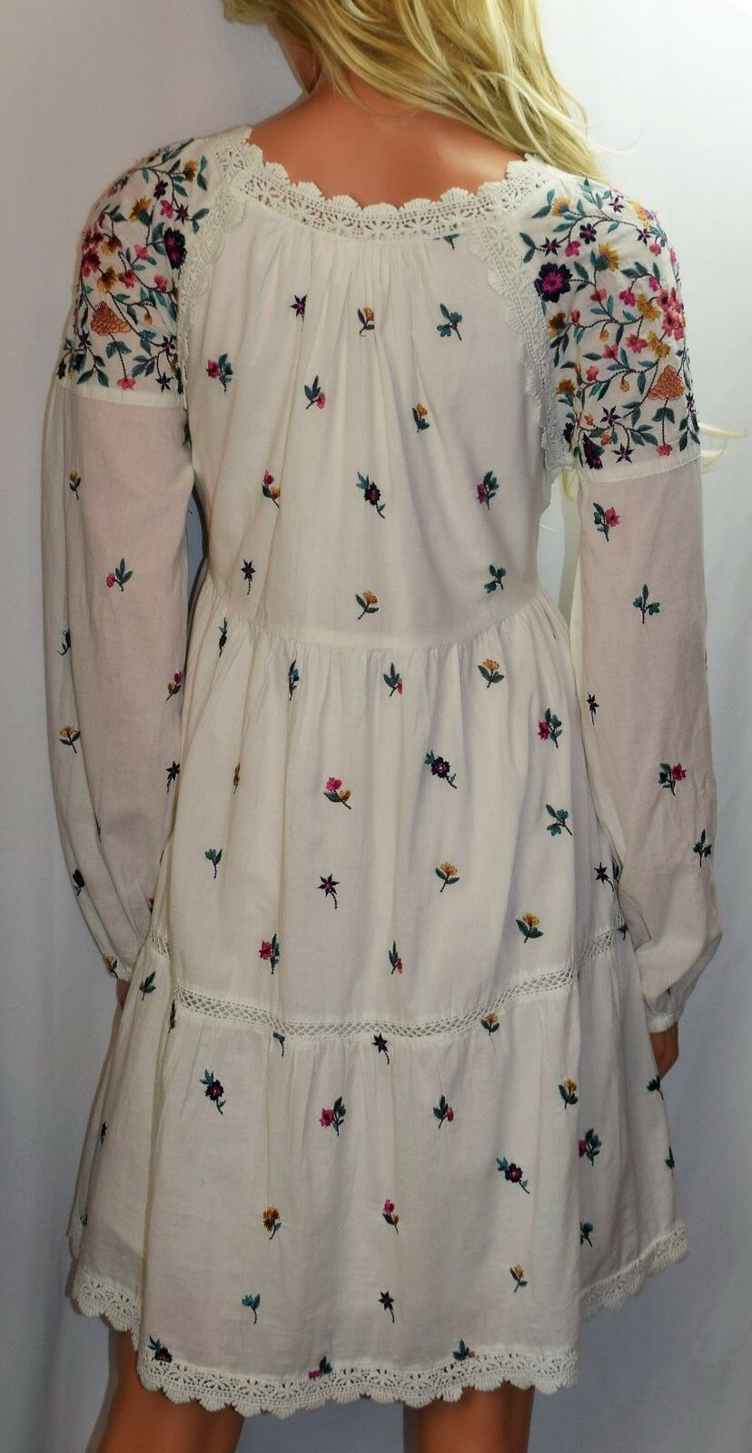 NWT MAEVE ANTHROPOLOGIE Sydney Embroidered Peasant Dress Size X Small Small Small 03e30c