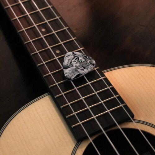 Black and White Tiger Blue Green Eyes Novelty Guitar Picks Medium Set of 6