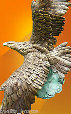 EAGLE IN FLIGHT, PURE BRONZE STATUE BIRD FIGURINE FIGURE HOT CAST SCULPTURE