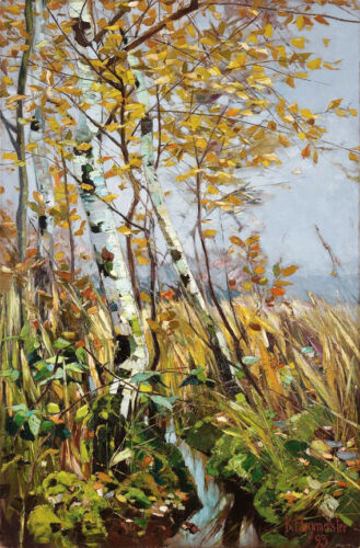 Birches  by Karl Hagemeister  Giclee Canvas Print Repro