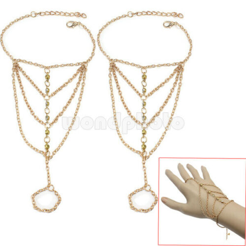2x Women Festival Party Rhinestone Tassel Finger Ring Chain Gold Tone Bracelet