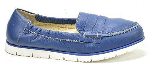 OGS Wide scarpe Yoki blu Leather Flats Moccasins 3E wide
