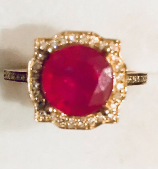 3.45CTW  Natural Red Ruby & Real DIAMONDS 10K Solid Yellow Gold  Ring