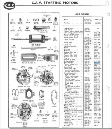 BEDFORD MORRIS AUSTIN CB//5933-147 CAV LUCAS CA45 STARTER MOTOR THROUGH BOLT