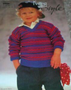 Original-Knitting-with-Style-Pattern-Child-039-s-DK-V-Neck-Spot-amp-Stripe-Sweater