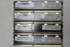 Lot of 4 Micron 4GB 2Rx4 PC3-10600R ECC Server Memory RAM MT36JSZF51272PY-1G4D1