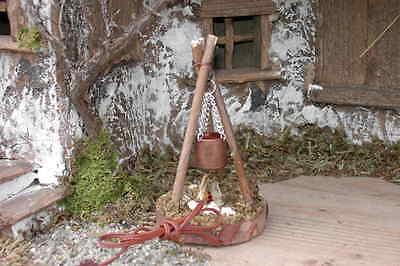Krippenzubehör - Lagerfeuer mit Kupferkessel elektr. mit Stecker (3 Äste) 10 cm