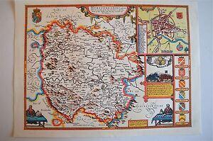 VINTAGE REPLICA John velocità Mappa di Herefordshire circa. 1610 HEREFORD