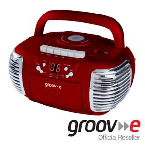GROOV-E RETRO BOOMBOX PORTABLE CD CASSETTE & FM RADIO PLAYER - RED - GVPS813RD