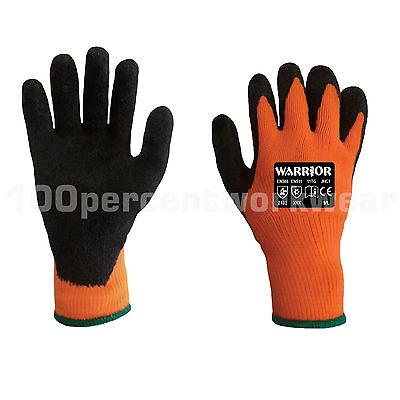 12x Warrior Latex Palm Coated Grip Gloves Orange