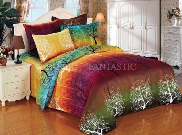 (US size) RAINBOW TREE Queen/King Size Bed Duvet/Quilt Cover Pillowcases Set New