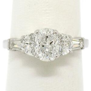 14k White Gold 2.00ctw GIA Cushion Diamond Engagement Ring w/ Half Moon Baguette