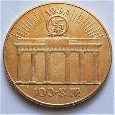 WW2 1933 ADOLF HITLER tedesco NUMISMATICA 100 Marco Coin goldened