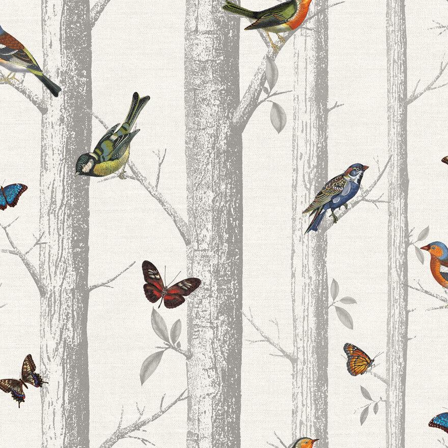 12231 - Enchanted Garden Forest Birds Branches Multicoloured Holden Wallpaper
