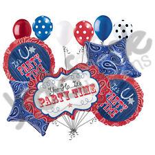 11 pc Bandana & Blue Jeans Happy Birthday Balloon Bouquet Western Line Dancing