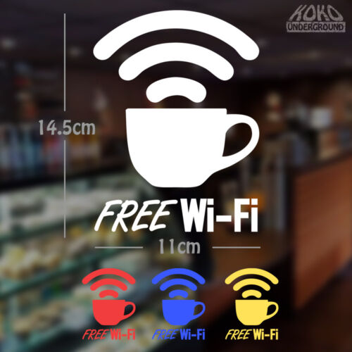 FREE WIFI Coffee Cup Vinyl Sticker Decal for Store Shop Cafe Window Wi-Fi 145mm