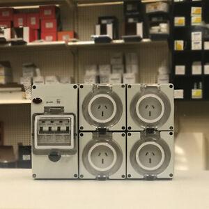 4X 15 AMP Single Phase 3 Pin Socket Outlet IP66 Weatherproof RCBO 4.5ka