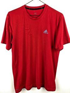 Adidas-Climalite-Men-039-s-Running-Football-Tennis-Shirt-Top-Size-M-Red-EUC