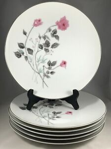 Set-of-6-Arita-China-Japan-Pink-Rose-Flower-10-1-4-034-Dinner-Plates