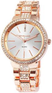 Excellanc-Damen-Armbanduhr-Rosegold-36-mm-Crystal-Besatz-Edelstahl-Armband-Uhr