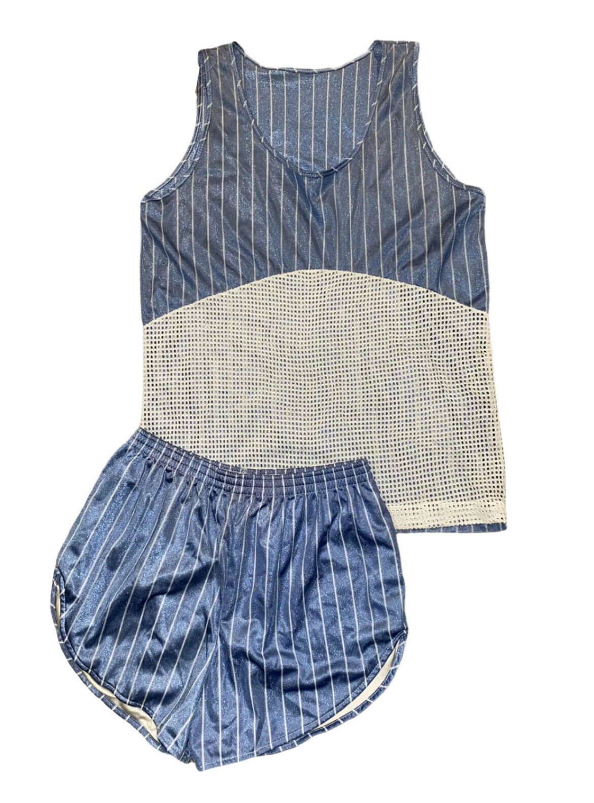 NOS vintage Running Mesh Tank Top and Running Shorts Set Light Blue Pinstripes M