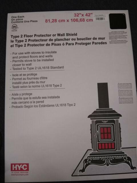 Type 2 Thermal Floor Protector Black 32x42 Stove Board