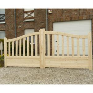 Cancello carrabile doppio in legno di pino naturale 350 x for Cancelli di legno per giardino