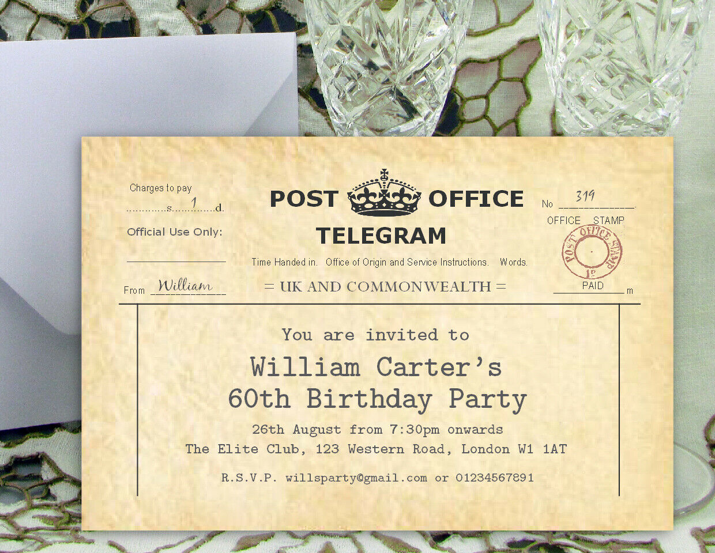 Birthday Party Invitations - Personalised Any Age - Vintage Telegram Design Mono