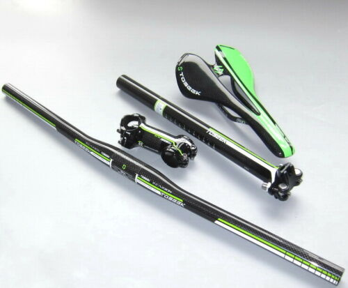 Green Carbon Flat 580-760 Handlebar 27.2//30.8//31.6 Seatpost Stem60-110mm Saddle