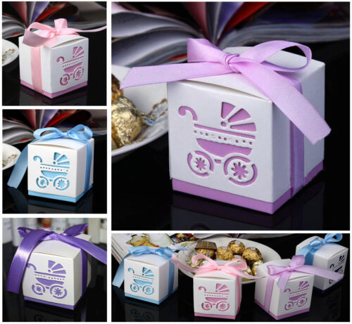 10pcs Laser Cut Carriage Gift Candy Bomboniere Boxes Wedding Favor Baby Shower