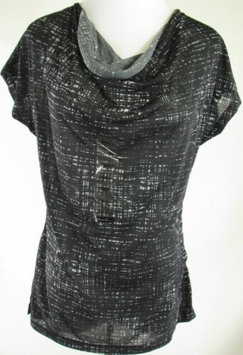 3679 Kenneth Cole Top Womens S Black Polyester Cap Sleeve Cowl Neck NEW