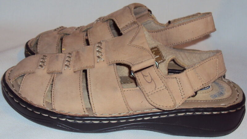 DR. SUEDE, SCHOLL'S, LADIES TAN LEATHER SUEDE, DR. FISHERMAN SANAL,  SIZE  6  M 8df4c0