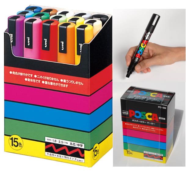 UNI POSCA Paint Marker Pen Medium Point PC-5M 1.8-2.5mm Set of 15 Colors PC5M15C