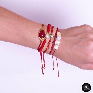 Kavak Handmade women's Girl Red world Crystal Stone Adjustable Bracelet