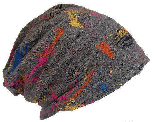 Cool4 Vintage Multicoloured Beanie Anthrazit Dunkelgrau Slouch Mütze VSB30