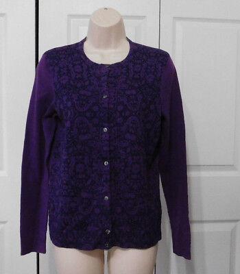 CROFT & BARROW Women's Purple Floral Button Front Cardigan Sweater Size S P   eBay