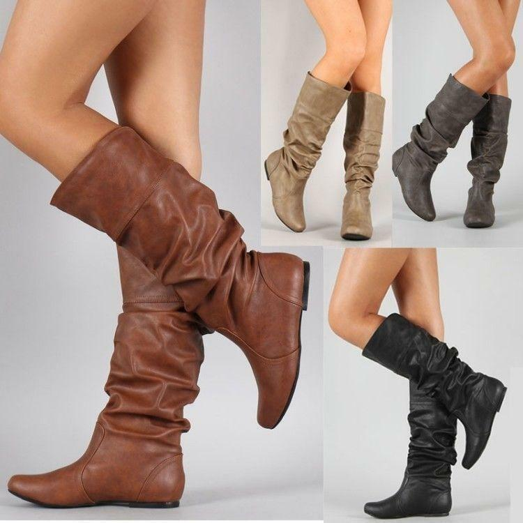 Vintage Womens Knee High Boots Riding shoes Pull On Hidden Heels Flats shoes Hot