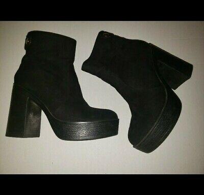 Clarks Women/'s Rockn Ankle Black Leather Platform Oxford