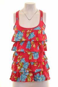 HOLLISTER-Womens-Vest-Top-Size-10-Small-Multicoloured-Floral-Cotton-GT08