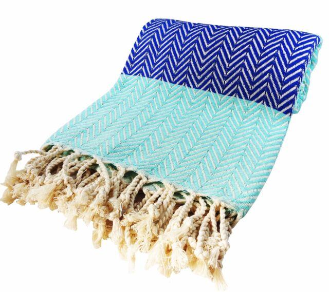 Morganicsbeauty Turkish Hammam Peshtemal, Beach Towel Blue/ Turqoise 100x180