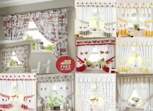 Image Is Loading Kitchen Window Curtains Pair Voile Or Matching Pelmets