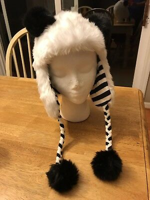 NWT Justice girls soft PANDA HAT WINTER size 5 6 7 8 10 12 14 ONE SIZE FITS ALL