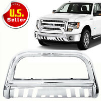 Stainless Steel Chrome Bull Bar Front Bumper W/skid Plate For 2004-14 Ford F150