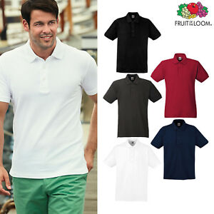 Fruit Of The Loom Adults Mens Ladies Plain Polo Shirt Tops Long Sleeve Collar